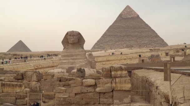 Giza , Egypt - January 14, 2020 : Egypt. Great Sphinx on the west bank of the Nile in Giza against the backdrop of the Pyramids.