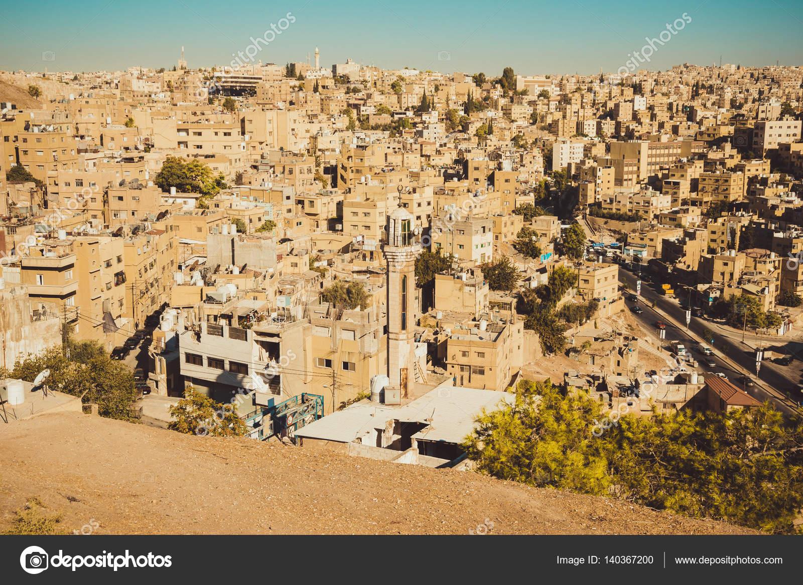 Resumen de Amman, Jordania, Medio Oriente. Concepto de viaje ...