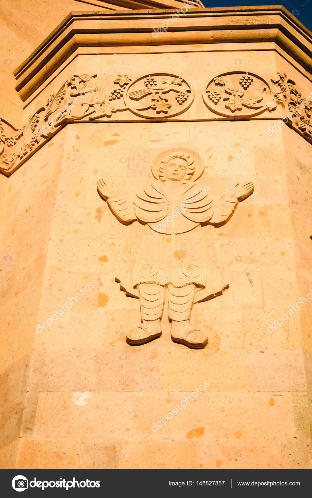 Decoration of external wall Saint Anna Church. Carved figure ...