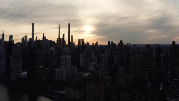 Anamorphic aerial footage of NYC in the sunset
