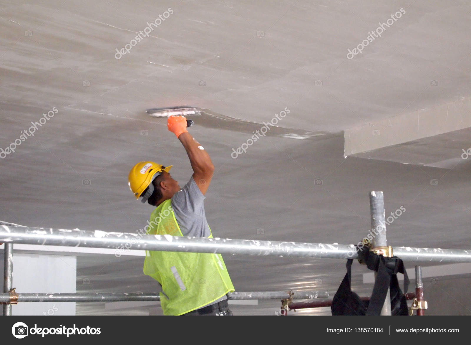 Construction Site Workers Are Doing Concrete Ceiling Soffit Skim Coat Work  U2014 Stock Photo