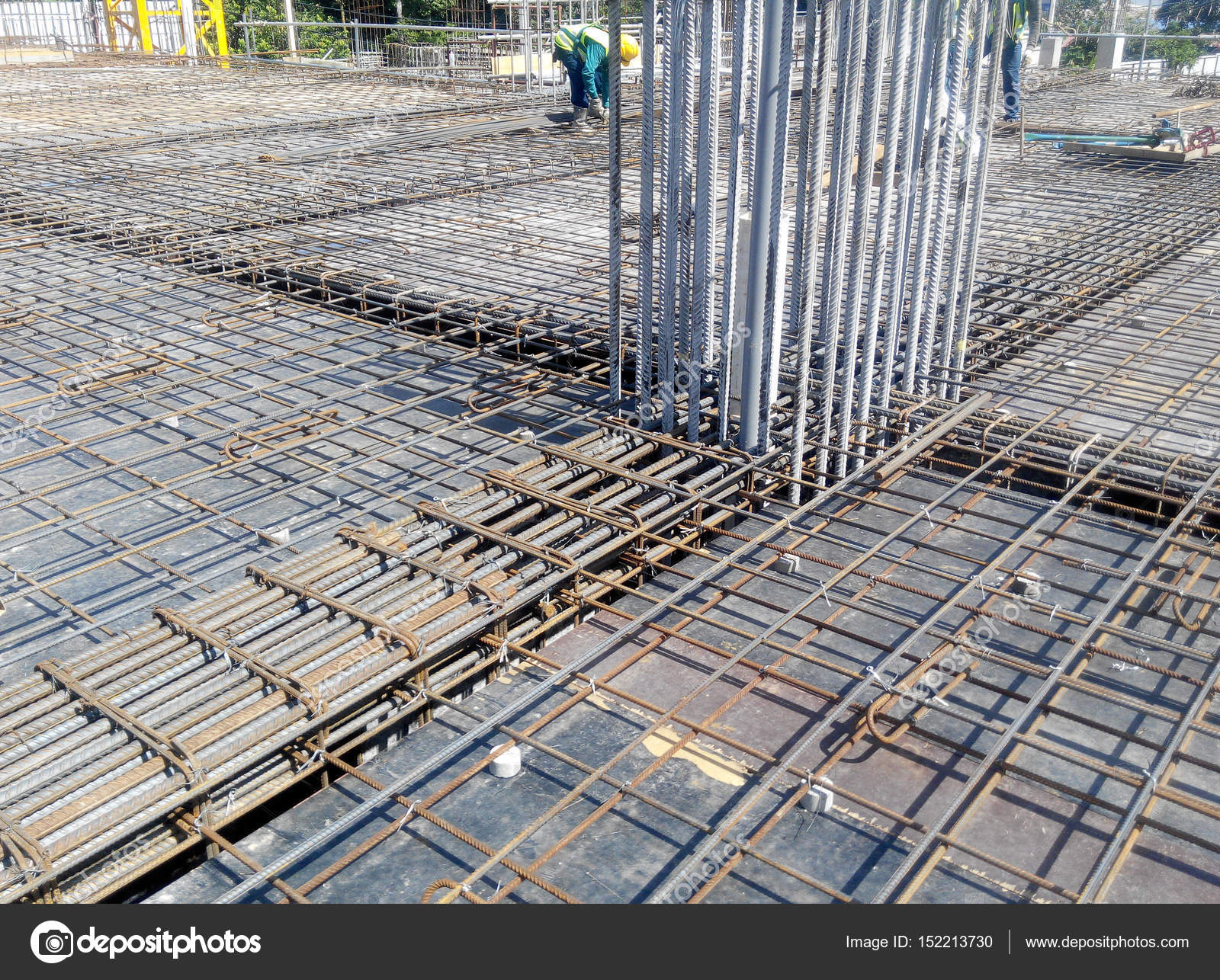 Steel reinforcement bar at construction site. — Stock Photo ...