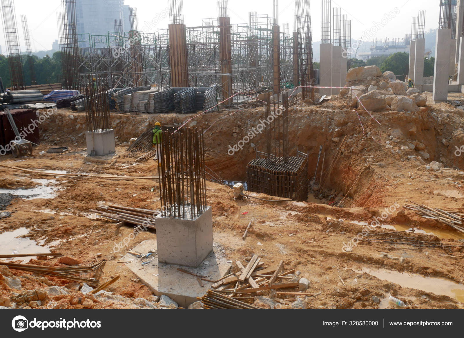 Pile Cap Column Stump Construction Construction Site Constructed Using Reinforced Stock Editorial Photo C Aisyaqilumar 328580000