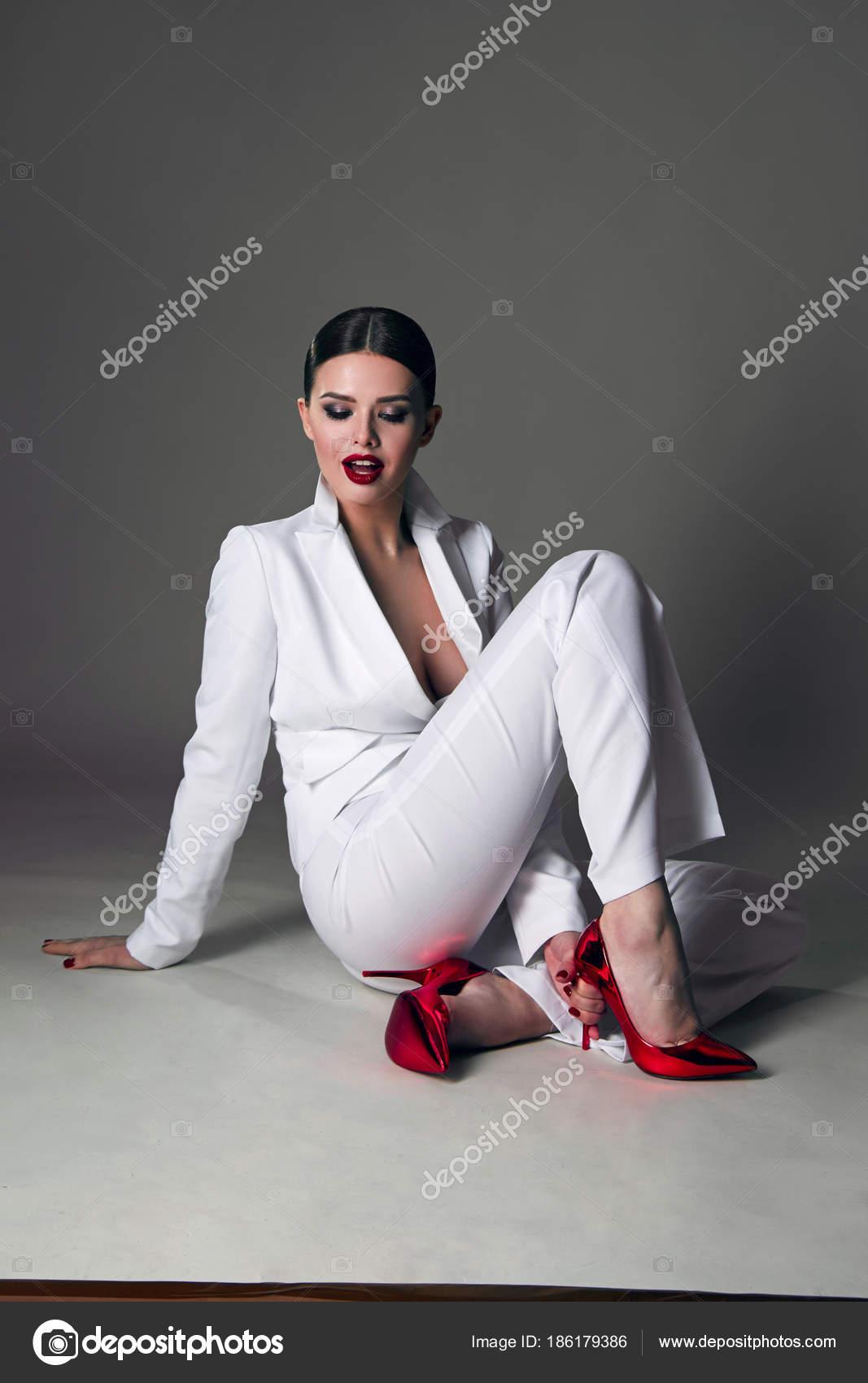 Beautiful Figure White Trouser Suit