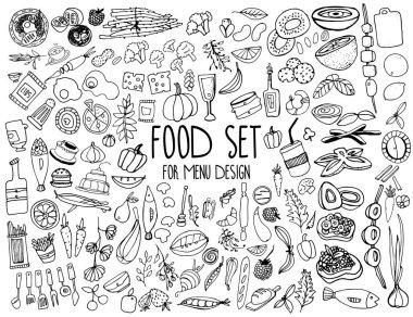 """Картина, постер, плакат, фотообои """"Hand drawn food elements. Set for menu decoration. Cartoon. Simple stylized forms."""", артикул 129635524"""