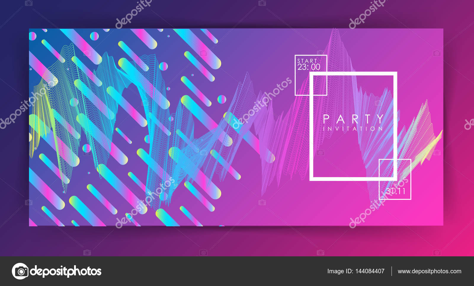 Party invitation or poster template. Two variations. gradient ...