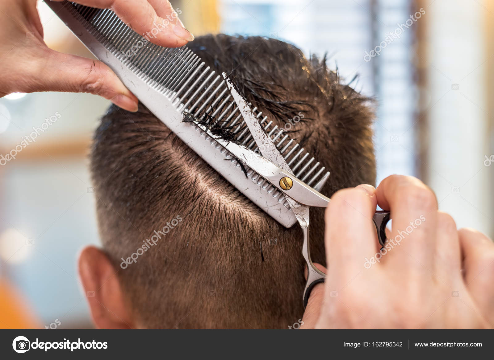 Admirable Mens Hair Cutting Scissors In A Beauty Salon Stock Photo Natural Hairstyles Runnerswayorg