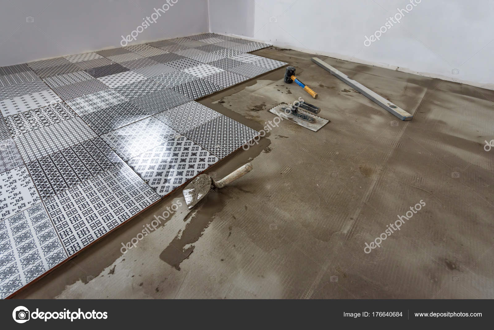 Ceramic Tiles And Tools For Tiler Floor Tiles Installation Stock
