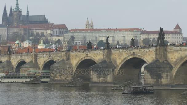 Nádherné panorama staré Prahy a Vltavy v České republice.