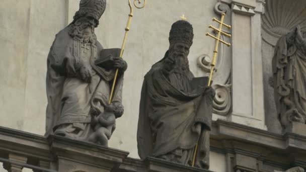 Statues of Saint Peter and Paul in Baroque style in Prague.