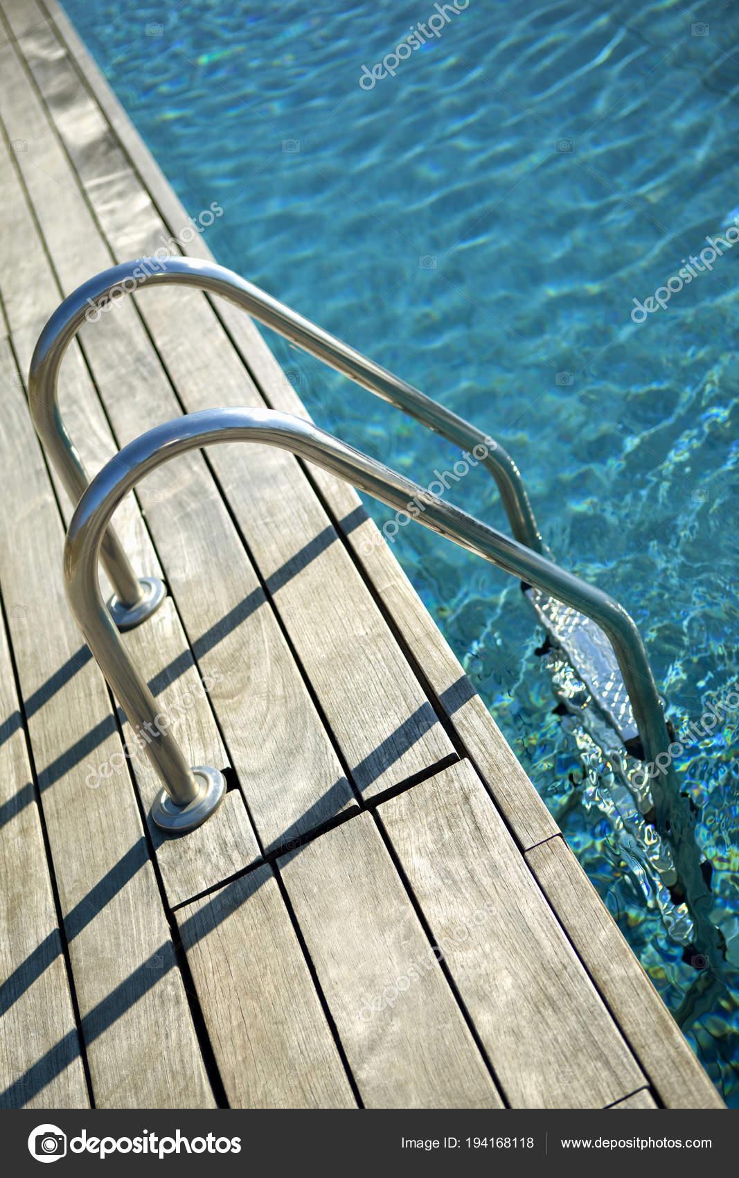 Wooden pool ladder | Wooden Deck Swimming Pool Ladder Spring ...