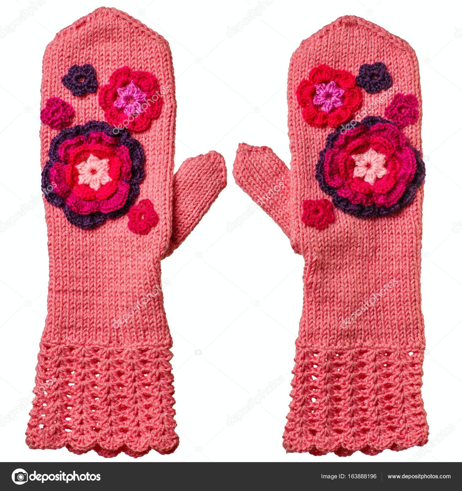 Par de manoplas color rosa tejido a mano — Foto de stock © maksim_e ...