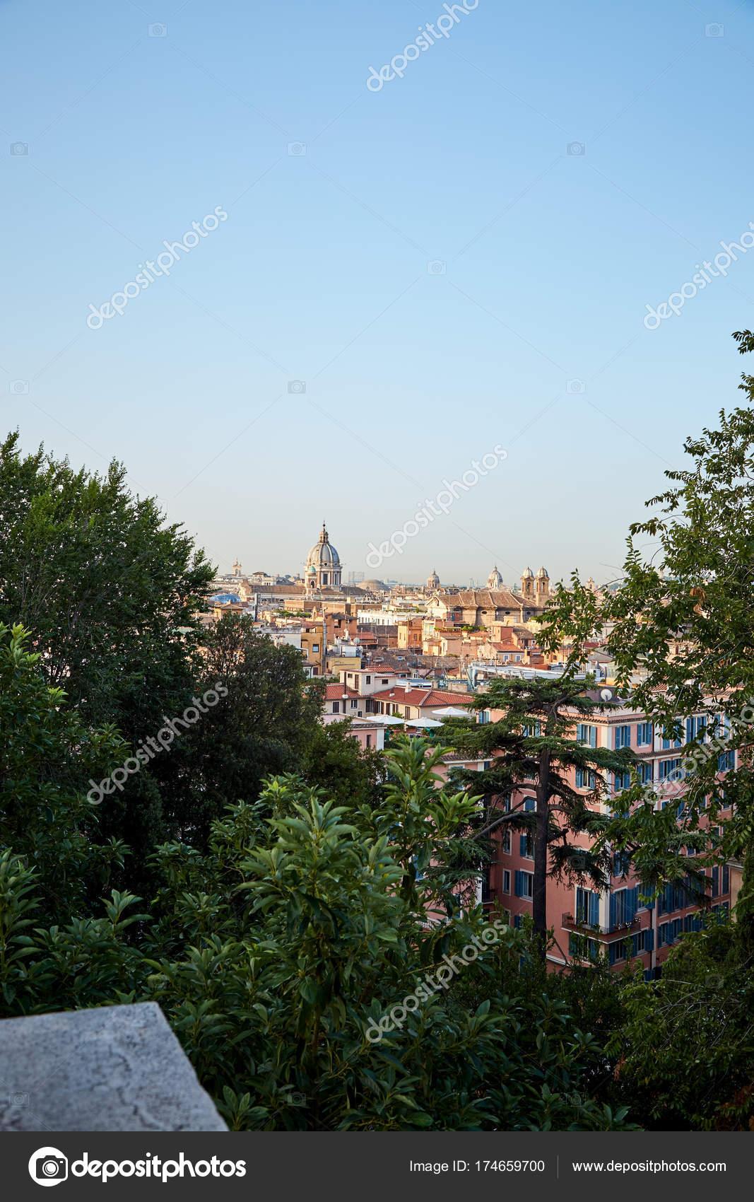Rome from the observation deck Terrazza del Pincio — Stock Photo ...