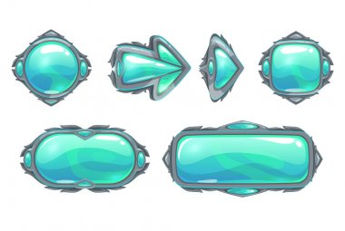Cool fantasy blue buttons set