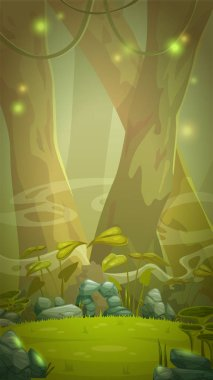 Fantasy cartoon forest scene.