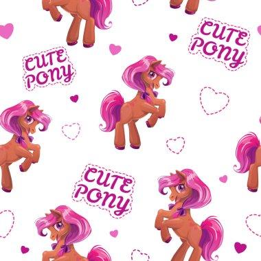 Seamless pattern with cute cartoon little horse