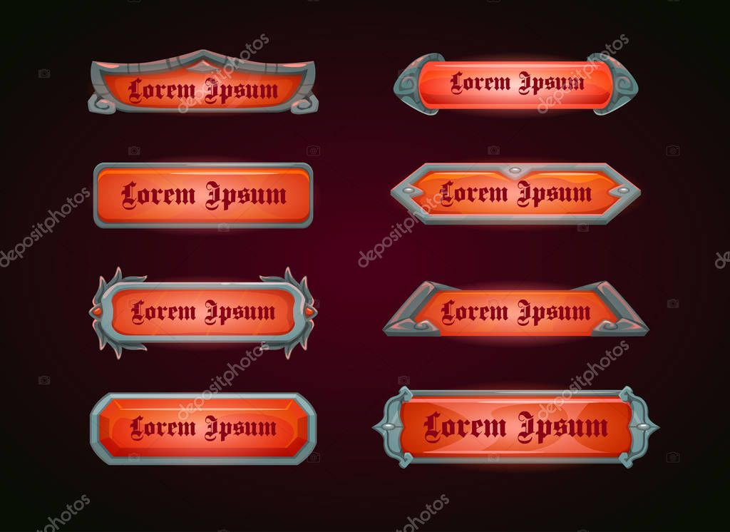 Horizontal red game templates, vector banners for web or GUI design. stock vector