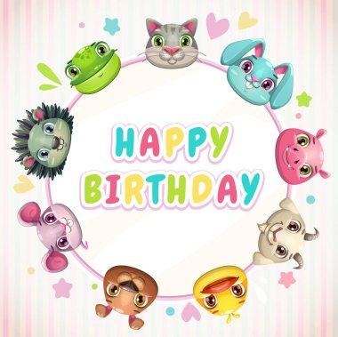 Cute childish Birthday card template