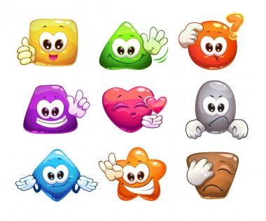 Funny colorful glossy shape characters