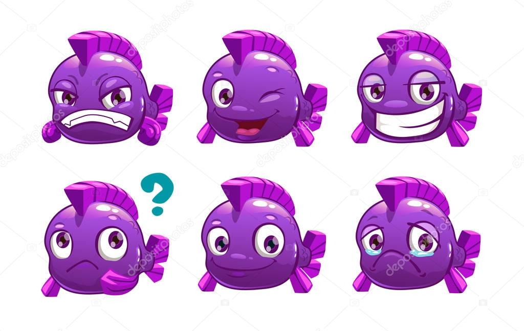 Funny cartoon violet fish