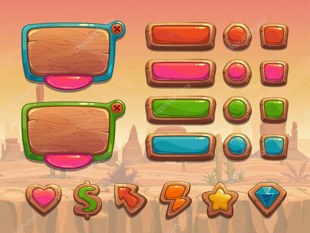 Funny cartoon wooden user interface assets.