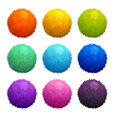 Colorful cartoon furry balls. Funny assets for game design. Vector illustration, isolated elements on white background. stock vector