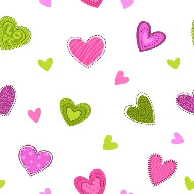 Funny girlish printable texture with cute hearts.