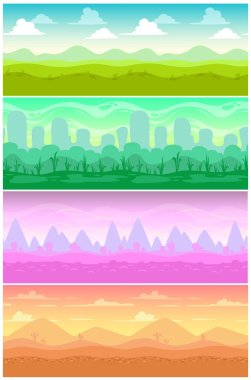 Colorful vector seamless landscapes set.