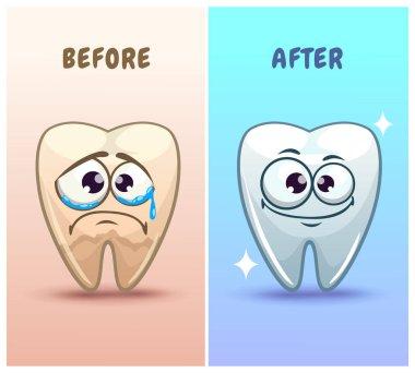Funny cartoon teeth characters