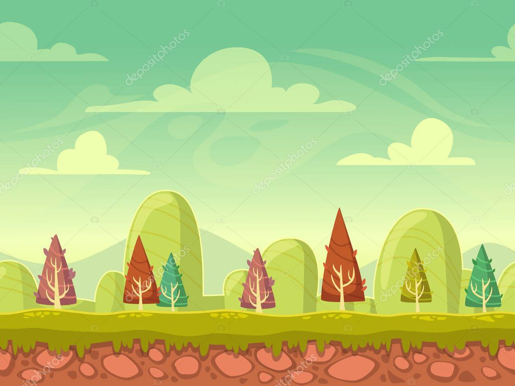 Cartoon seamless nature background