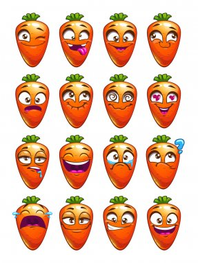 Cartoon carrot character emotions set.
