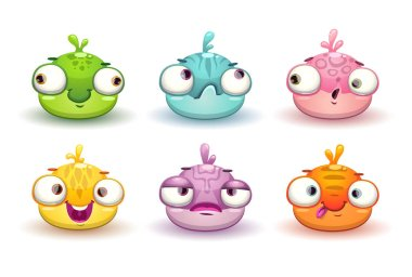 Funny colorful blob characters set.