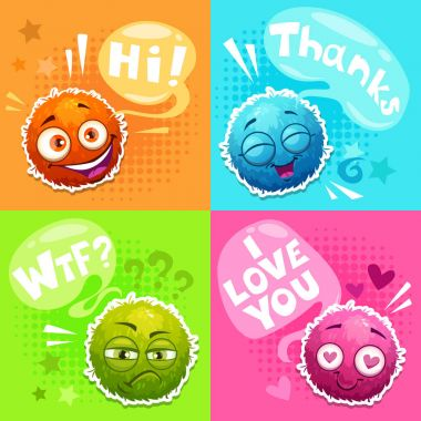 Cute posters with funny colorful fluffy round talking characters. Vector illustration. clip art vector