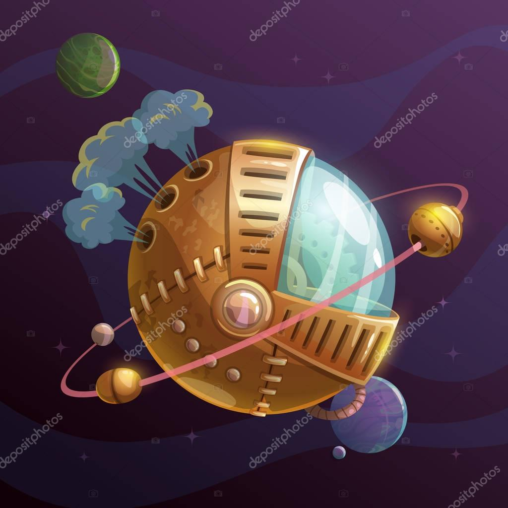Fantasy steampunk planet on space background.