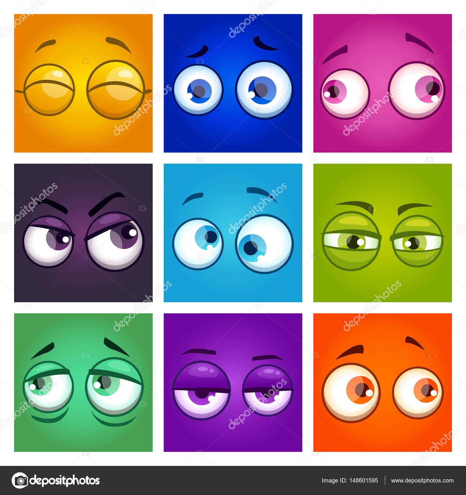 Funny colorful comic square avatars  — Stock Vector