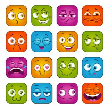 Funny colorful square faces set.