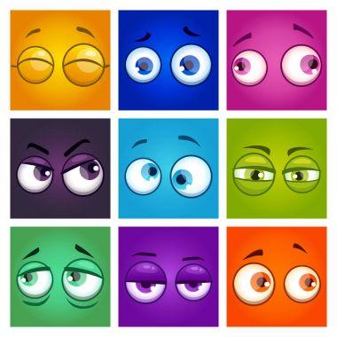 Funny colorful comic square avatars.