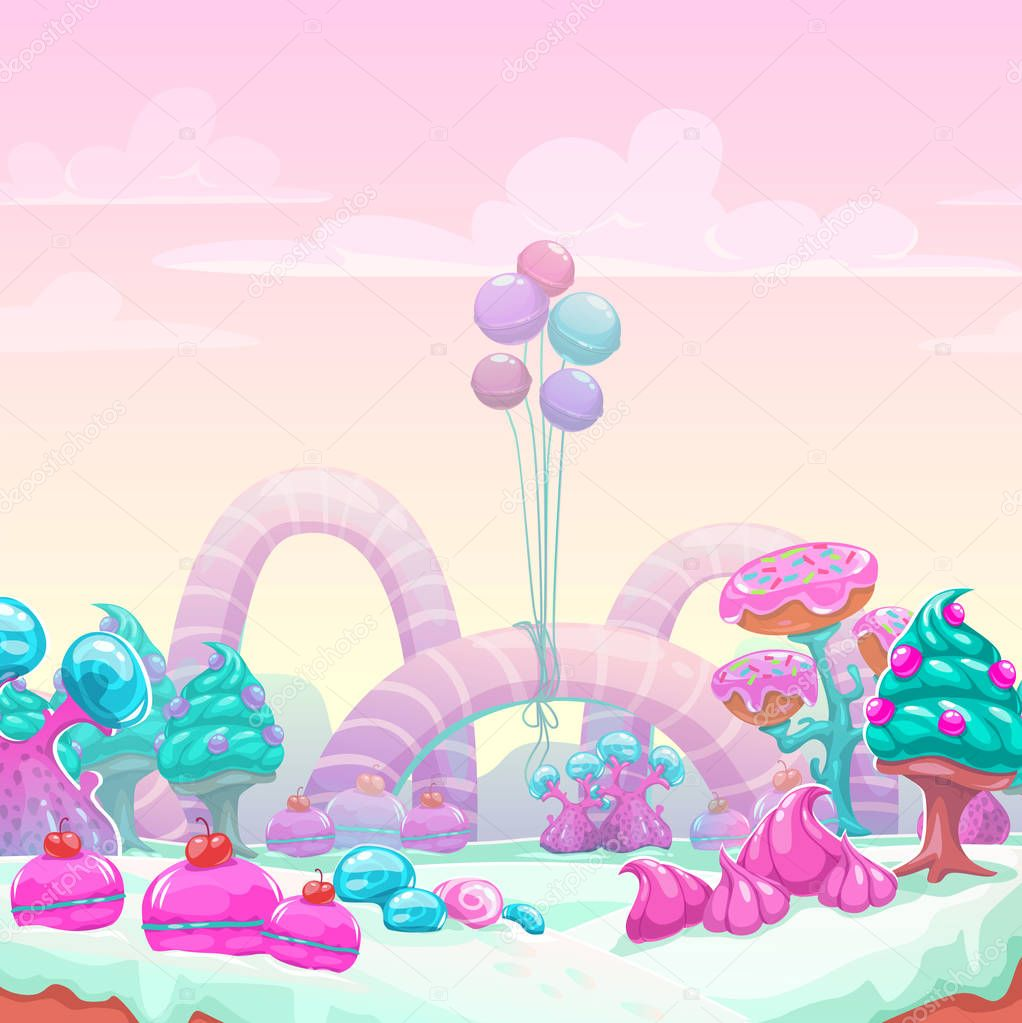 Beautiful fantasy sweet world background.