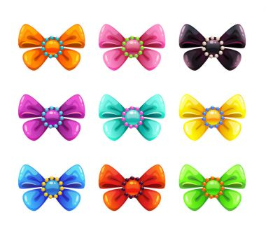 Colorful glossy decorative bows set.