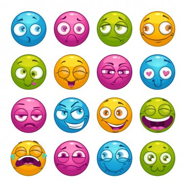 Colorful cartoon comic faces with different emotions.