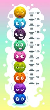 Kids height chart with funny cartoon colorful round fluffy characters.