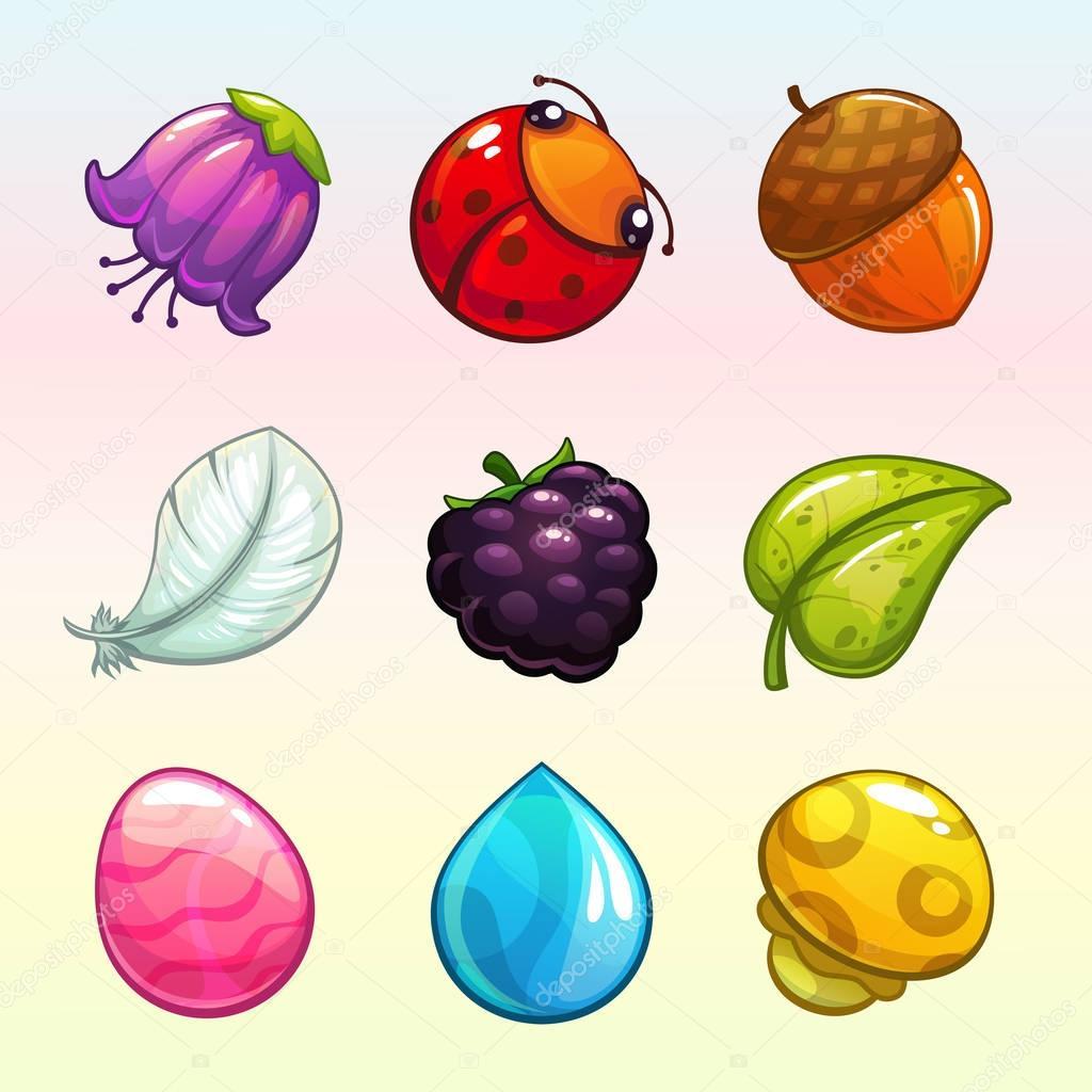Cartoon assets for match 3 game design.