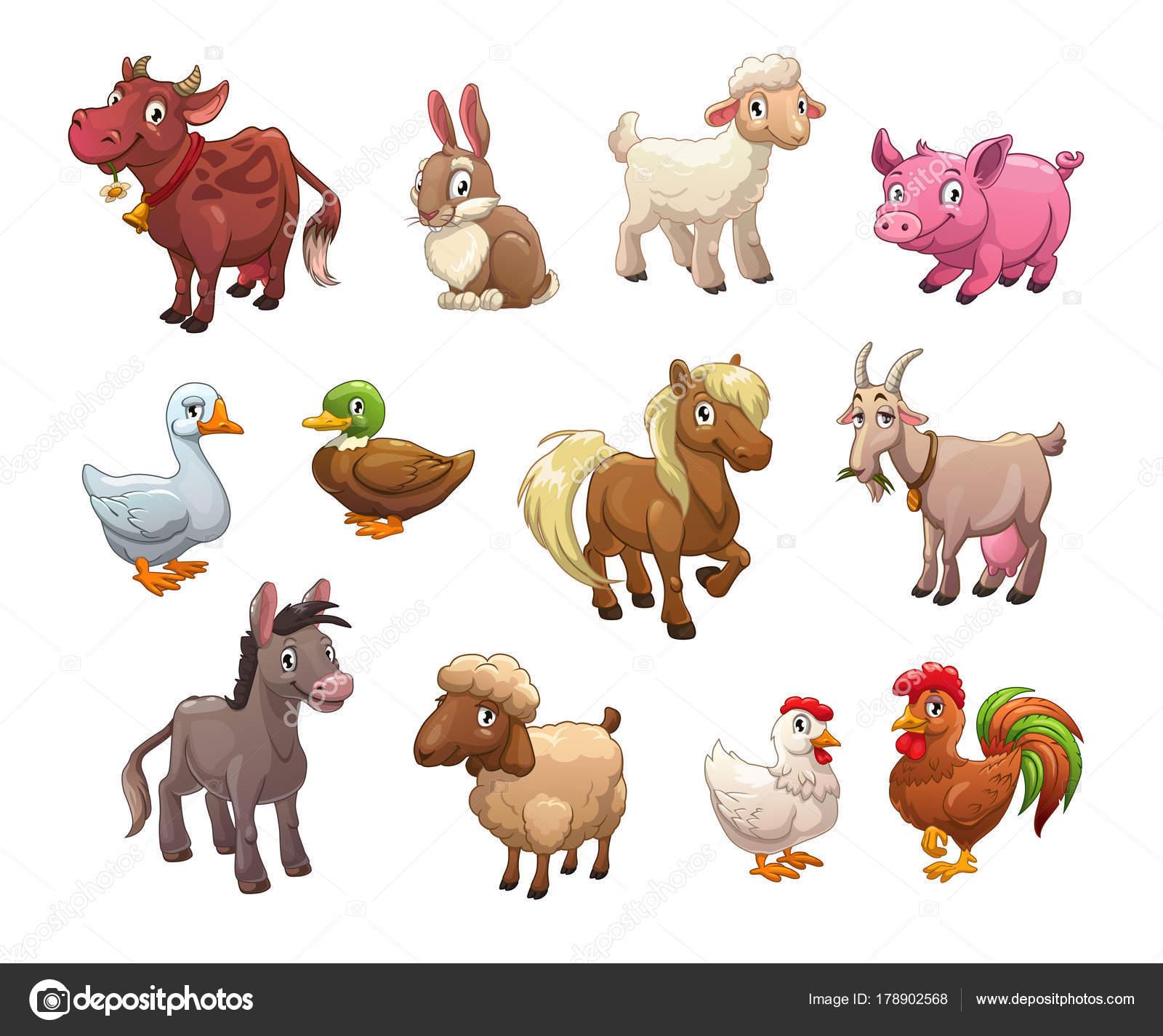 Insieme di animali da fattoria simpatico cartone animato