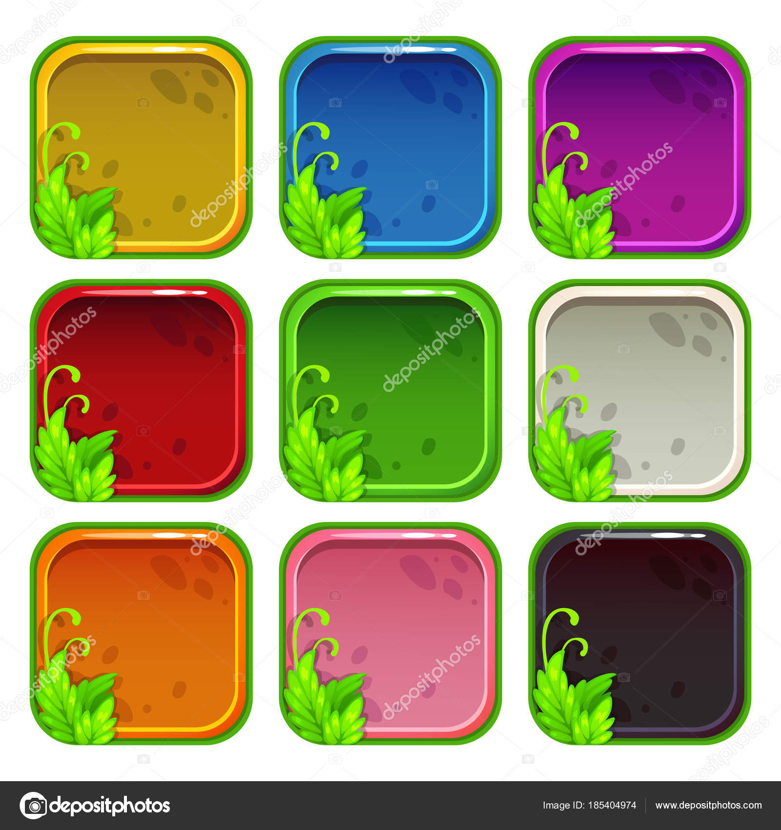 Cartoon colorful app icon frames set — Stock Vector © lilu330 #185404974