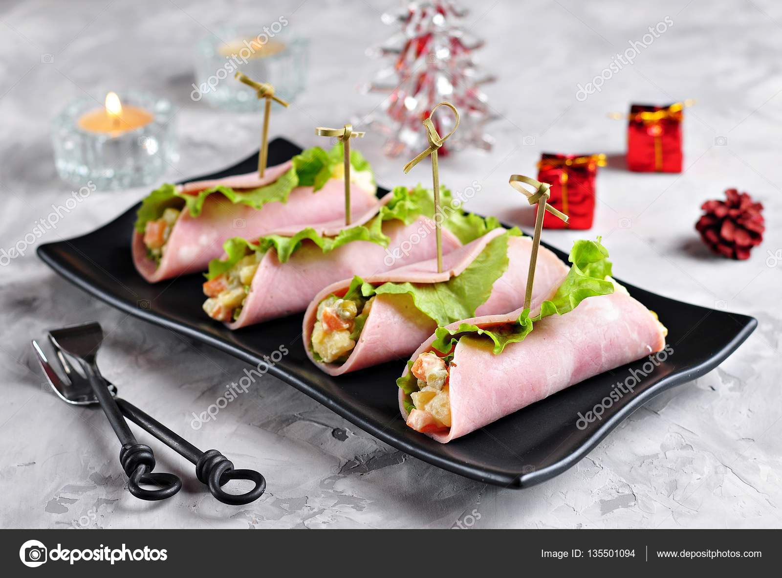 Traditionelle russische Weihnacht-Salat gekochte Kartoffeln ...