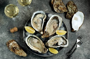 Giant fresh uncooked oysters in a shell with lemon on ice. Healthly food.