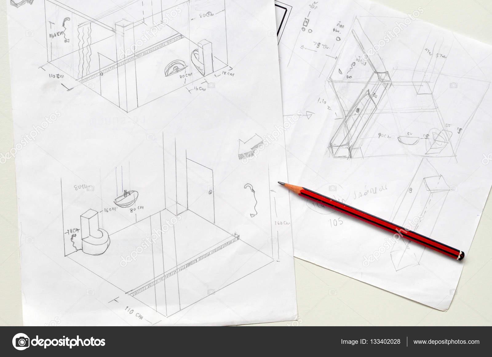 Disegnato a mano di matita e bagno sketch u2014 foto stock © varandah