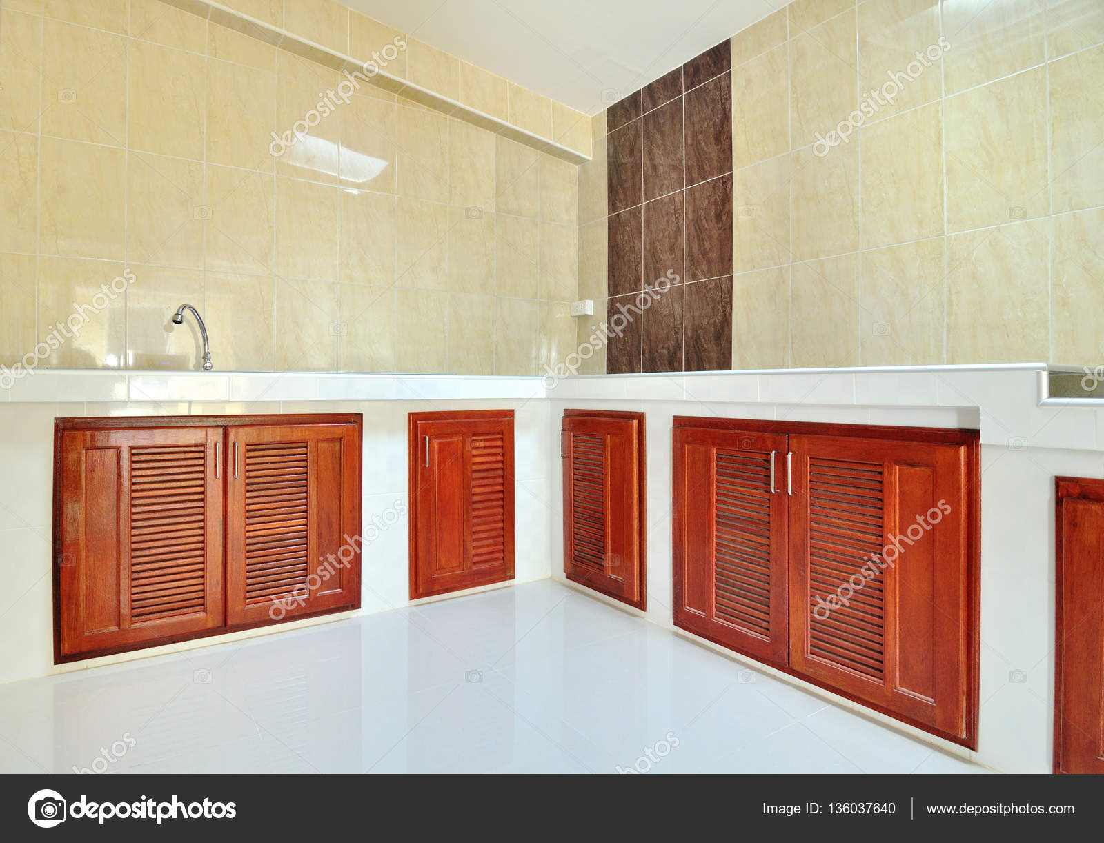 Empty Concrete Counter Kitchen With Beige Wall Tile Stock Photo