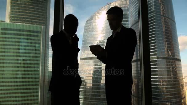 Two multicultural male colleagues discussing project, standing by office window