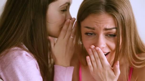 Two female gossipers talking, teenage girl whispering secrets to friend